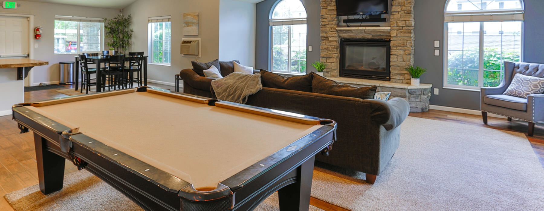 spacious clubhouse with pool table