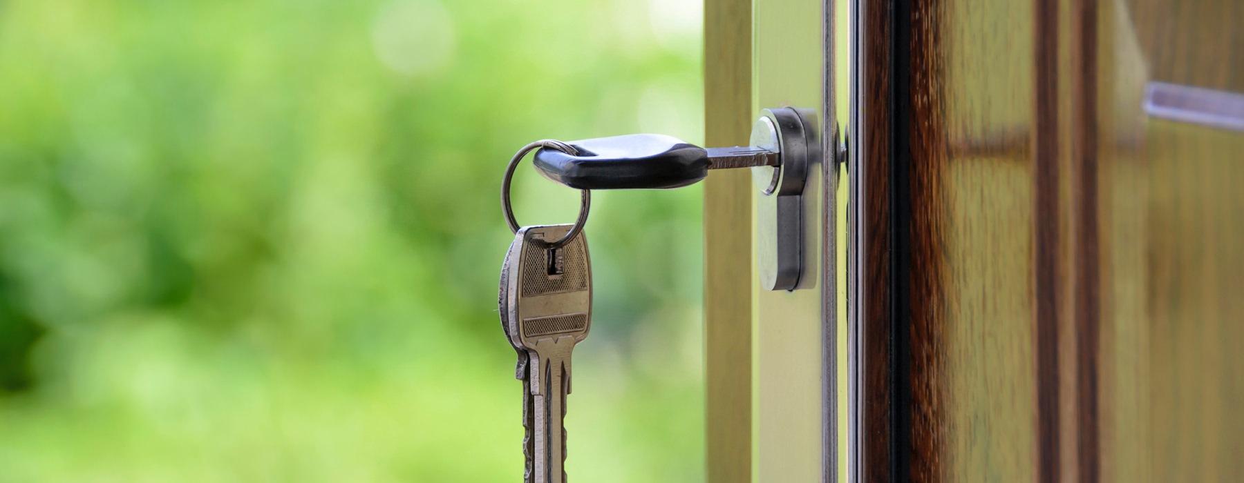 key in an open door's lock